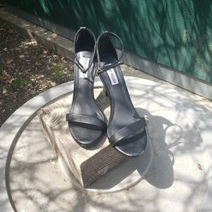 STEVE MADDEN STECY Black Ankle Strap Sandals 8